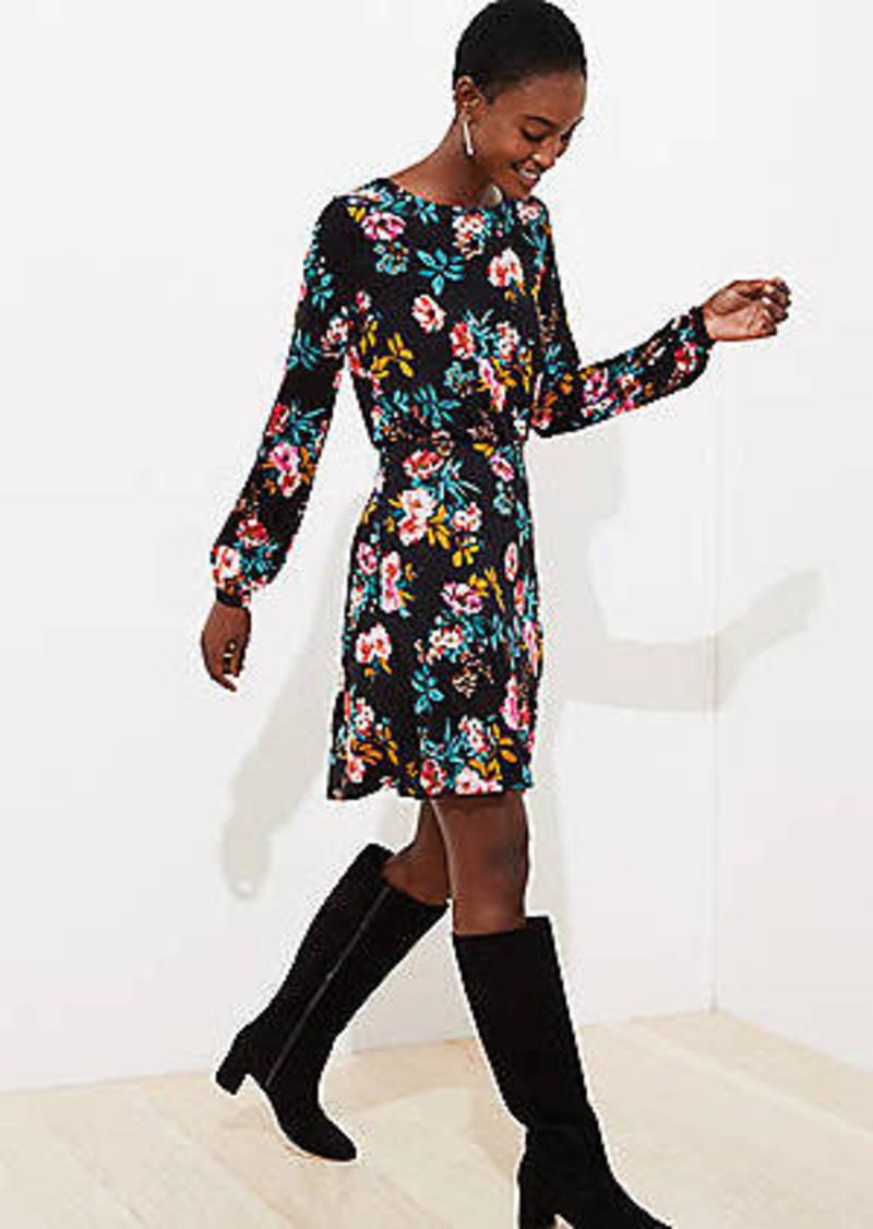 LOFT Petite Floral Bar Back Flare Dress