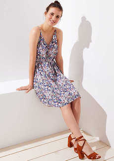 LOFT Petite Floral Covered Button Strappy Cami Dress