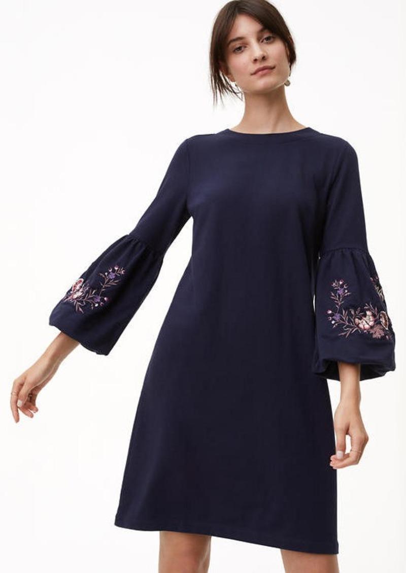 2c92db35e LOFT Petite Floral Embroidered Bell Sleeve Dress   Dresses