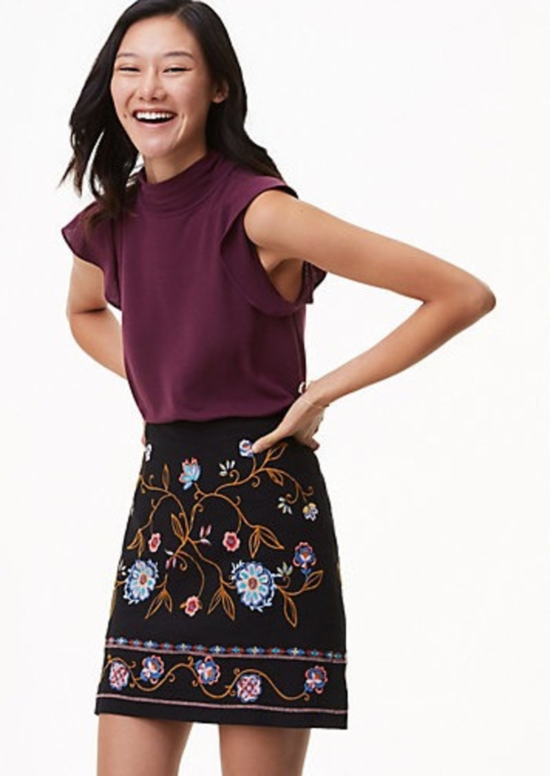 dc981d9d7d3b0 SALE! LOFT Petite Floral Embroidered Shift Skirt