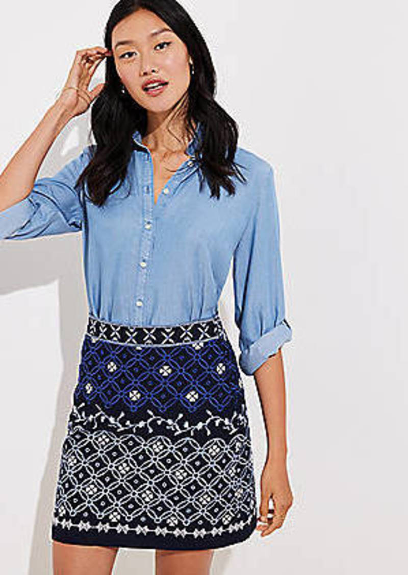 994923c1f7b67 LOFT Petite Floral Embroidered Shift Skirt Now  23.99