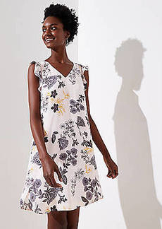 LOFT Petite Floral Flutter Shirttail Dress