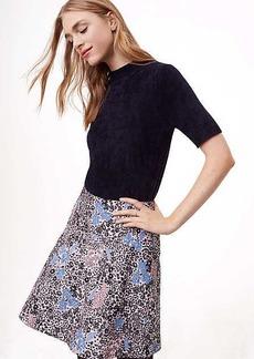 LOFT Petite Floral Jacquard Flare Skirt