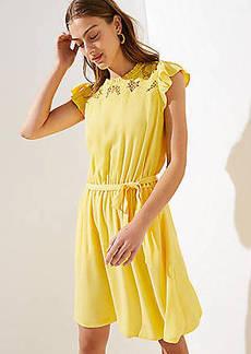 cdfc7734a22 LOFT Petite Floral Lace Yoke Ruffle Dress