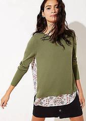 LOFT Petite Floral Mixed Media Sweater