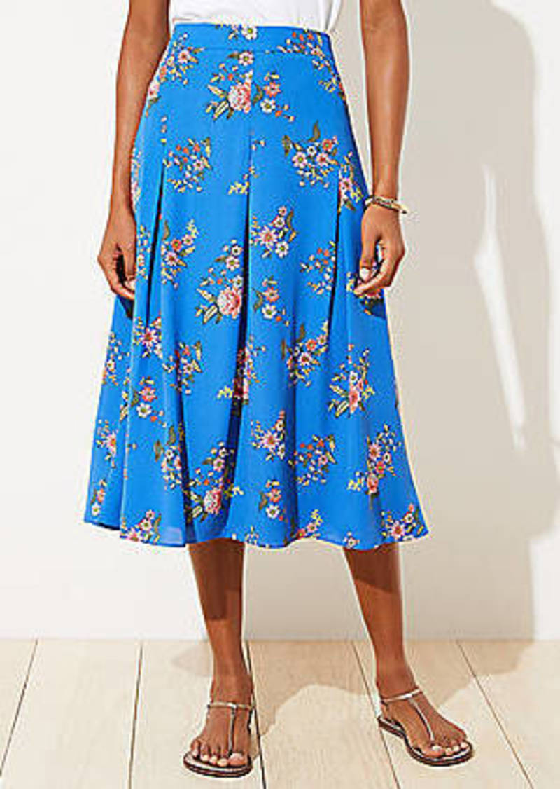 LOFT Petite Floral Pleated Midi Skirt