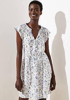 LOFT Petite Floral Ruffled Split Neck Dress