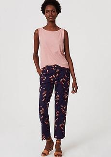 LOFT Petite Floral Straight Leg Ankle Pants