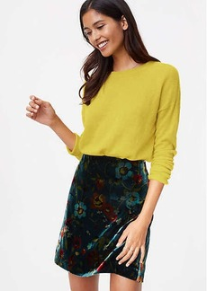 Petite Floral Velvet Shift Skirt