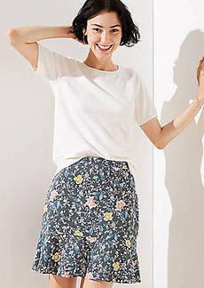 LOFT Petite Floral Vine Flippy Skirt