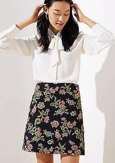 LOFT Petite Floral Vine Jacquard Shift Skirt