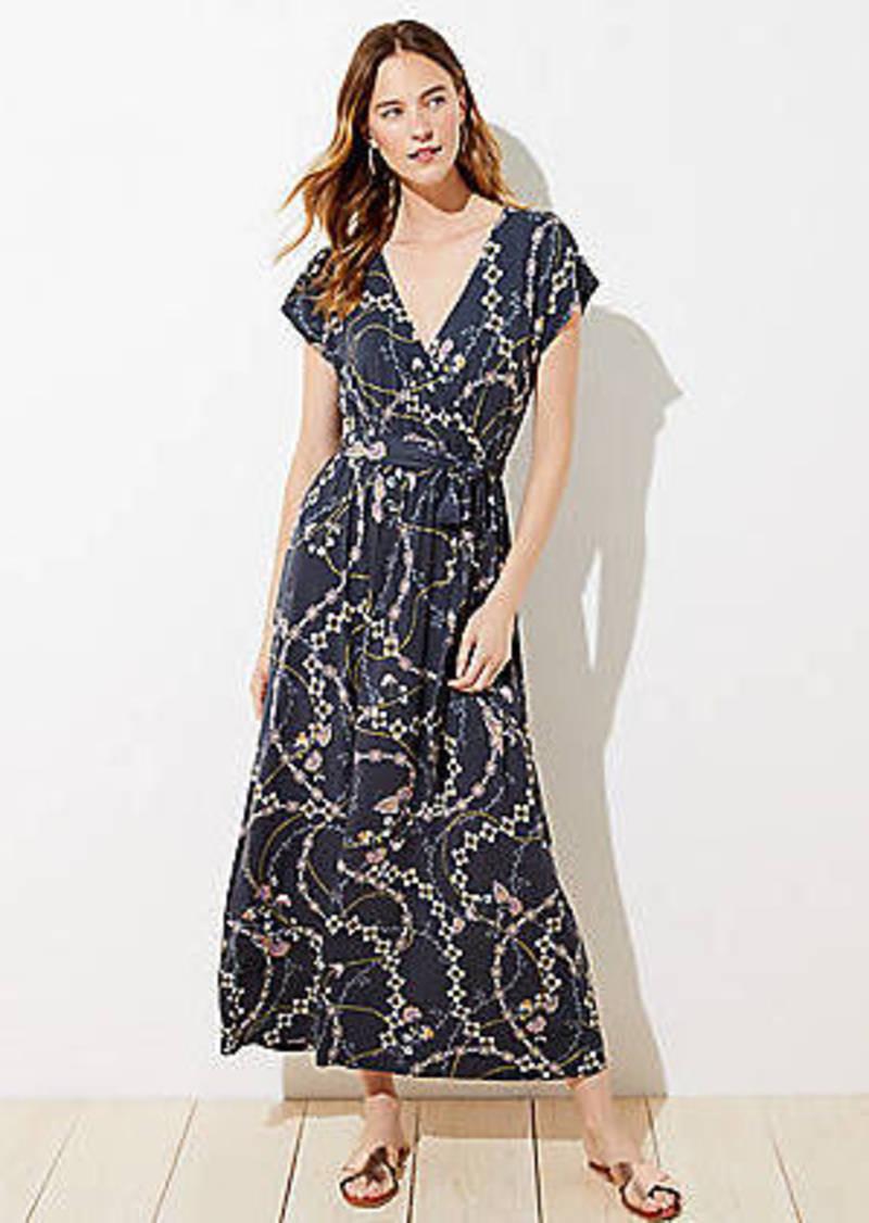 LOFT Petite Flower Chain Wrap Maxi Dress