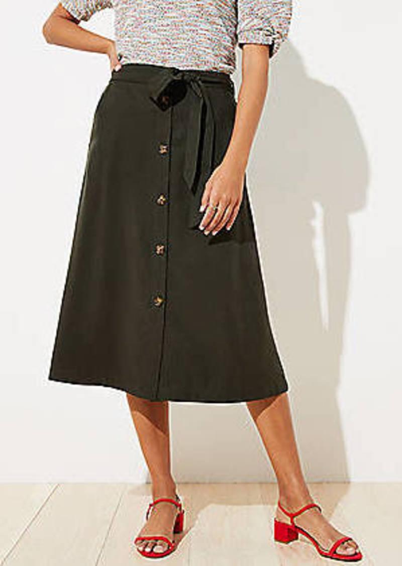 LOFT Petite Fluid Button Front Midi Skirt