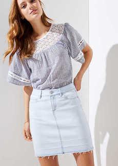 LOFT Petite Frayed Denim Mini Skirt