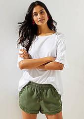 LOFT Petite Frayed Drawstring Shorts