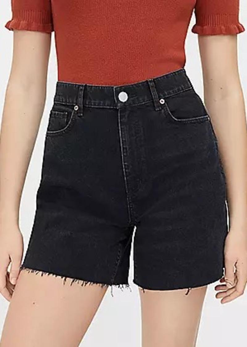 LOFT Petite Fresh Cut High Waist Boyfriend Shorts in Faded Black