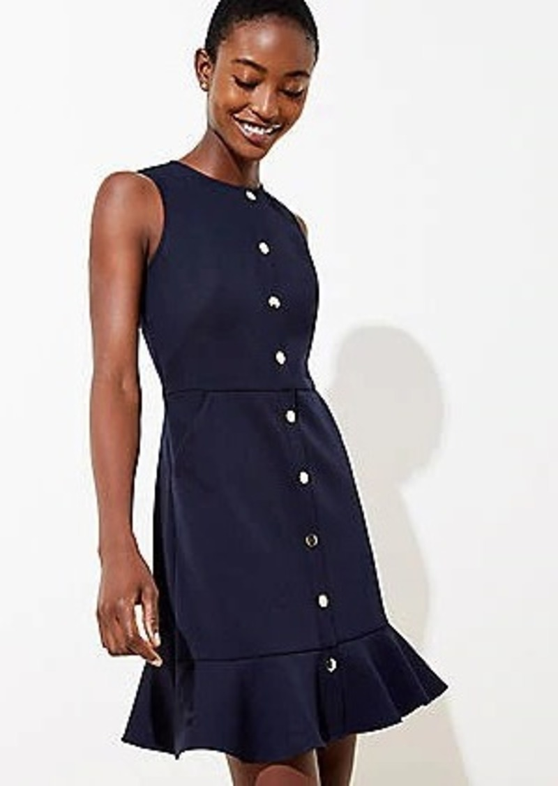 LOFT Petite Gilded Button Flounce Pocket Dress