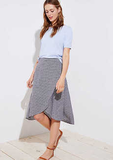LOFT Petite Gingham A-Line Wrap Skirt