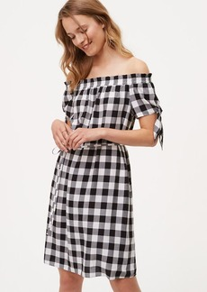 LOFT Petite Gingham Tie Off The Shoulder Dress