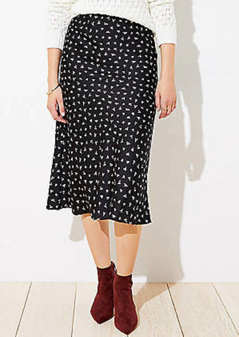 LOFT Petite Heart Pull On Midi Skirt