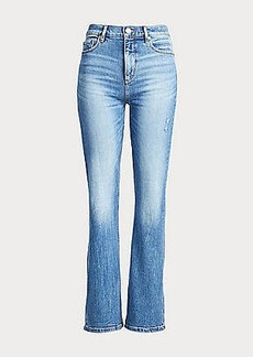 LOFT Petite High Waist Slim Flare Jeans in Medium Light Authentic Indigo Wash