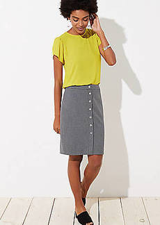 LOFT Petite Houndstooth Buttoned Pencil Skirt