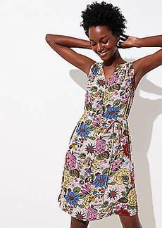 LOFT Petite Hydrangea Garden Split Neck Dress