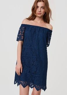 Petite Lace Off The Shoulder Shift Dress