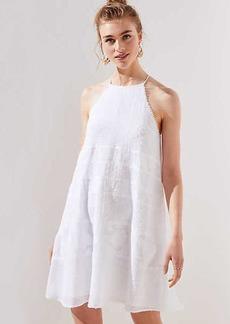 LOFT Petite Lace Stripe Halter Swing Dress