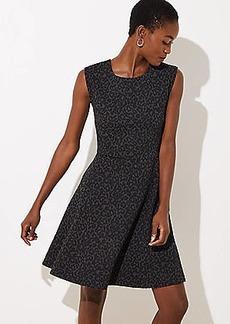 LOFT Petite Leopard Jacquard Flare Dress