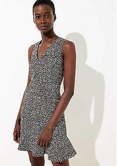 LOFT Petite Leopard Print Flounce Dress