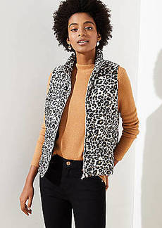 LOFT Petite Leopard Print Puffer Vest