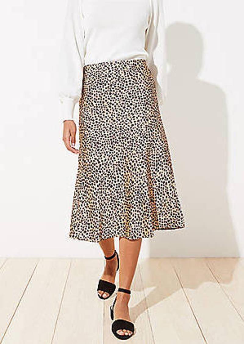 LOFT Petite Leopard Print Pull On Midi Skirt