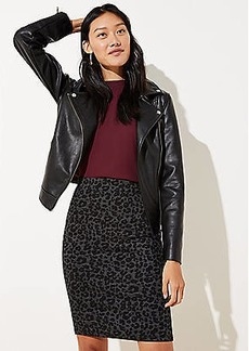 LOFT Petite Leopard Print Pull On Pencil Skirt