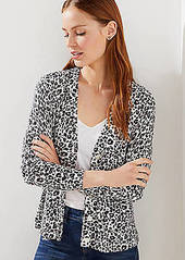 LOFT Petite Leopard Print Signature V-Neck Cardigan