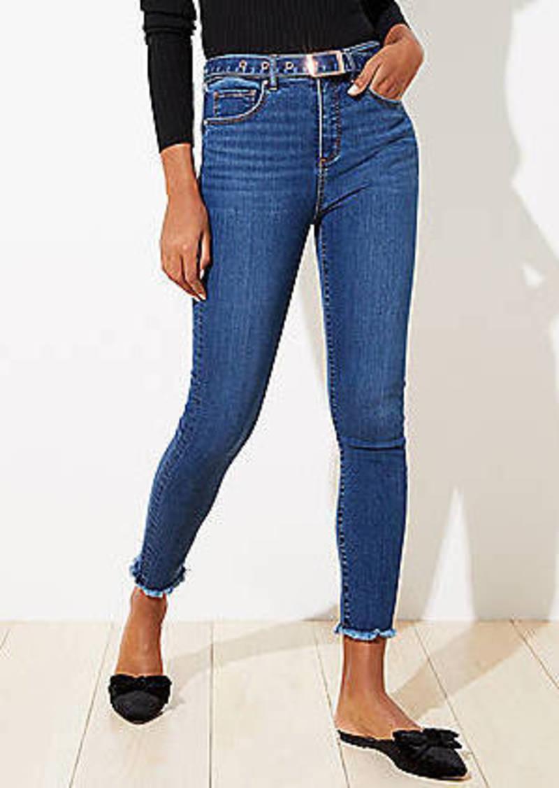 LOFT Petite Let Down Hem Slim Pocket Skinny Jeans in Rich Dark Indigo