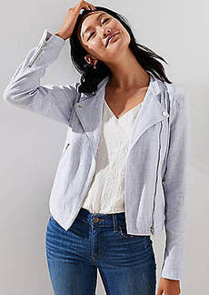 LOFT Petite Linen Cotton Moto Jacket