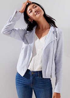 LOFT Petite Linen Cotton Moto Jacket
