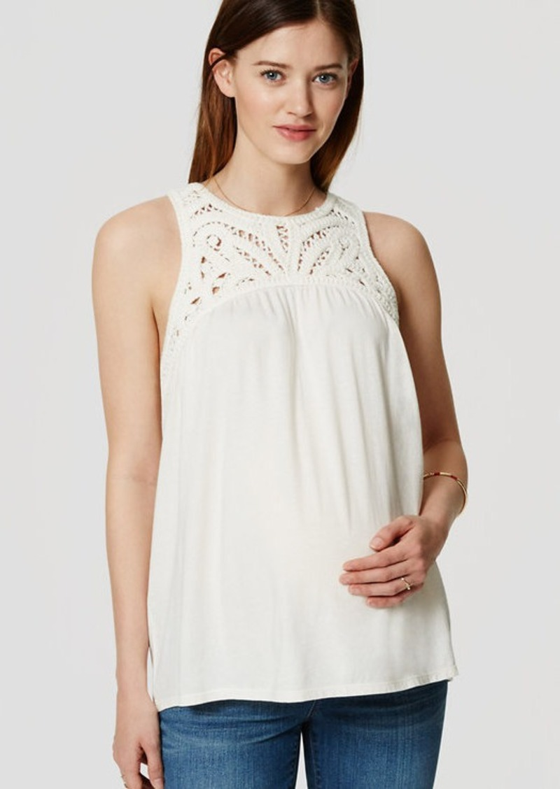 LOFT Petite Maternity Battenburg Lace Yoke Tank