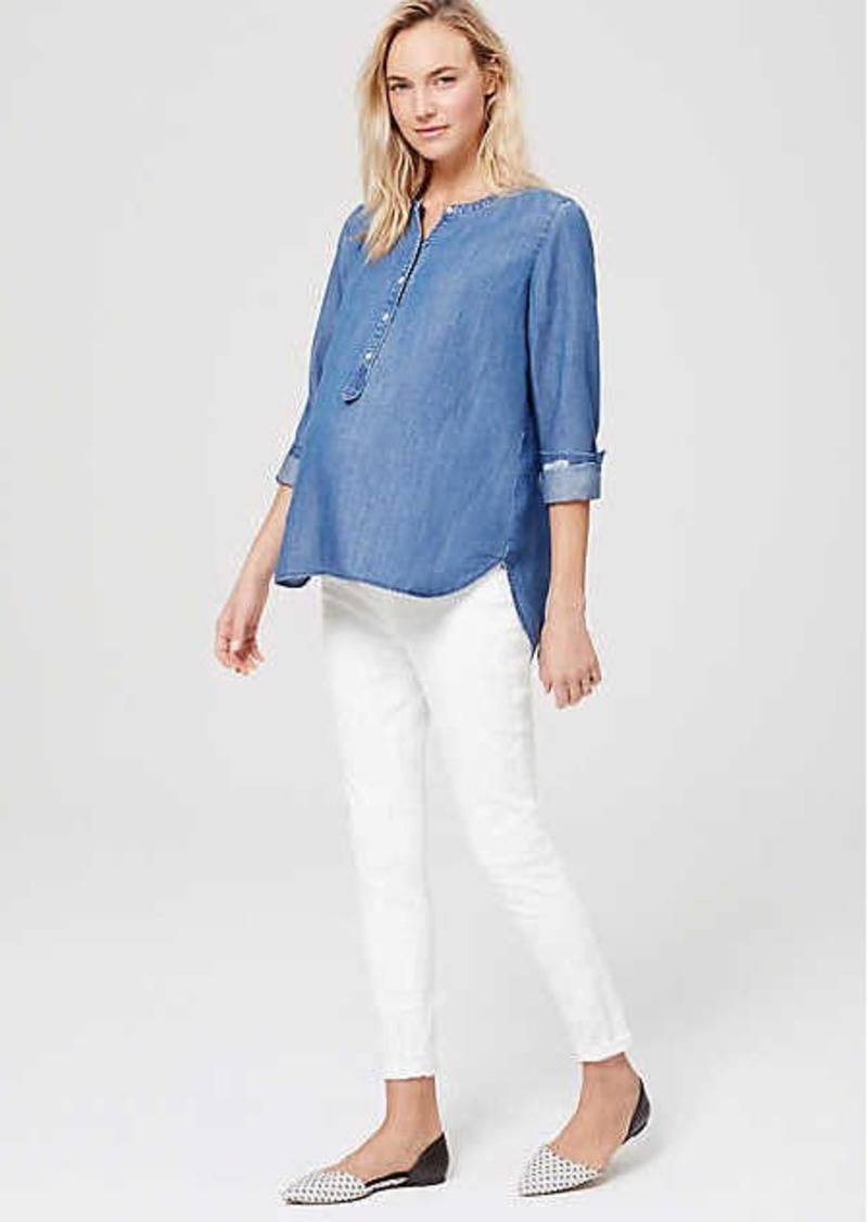 LOFT Petite Maternity Demi Panel Skinny Jeans in White