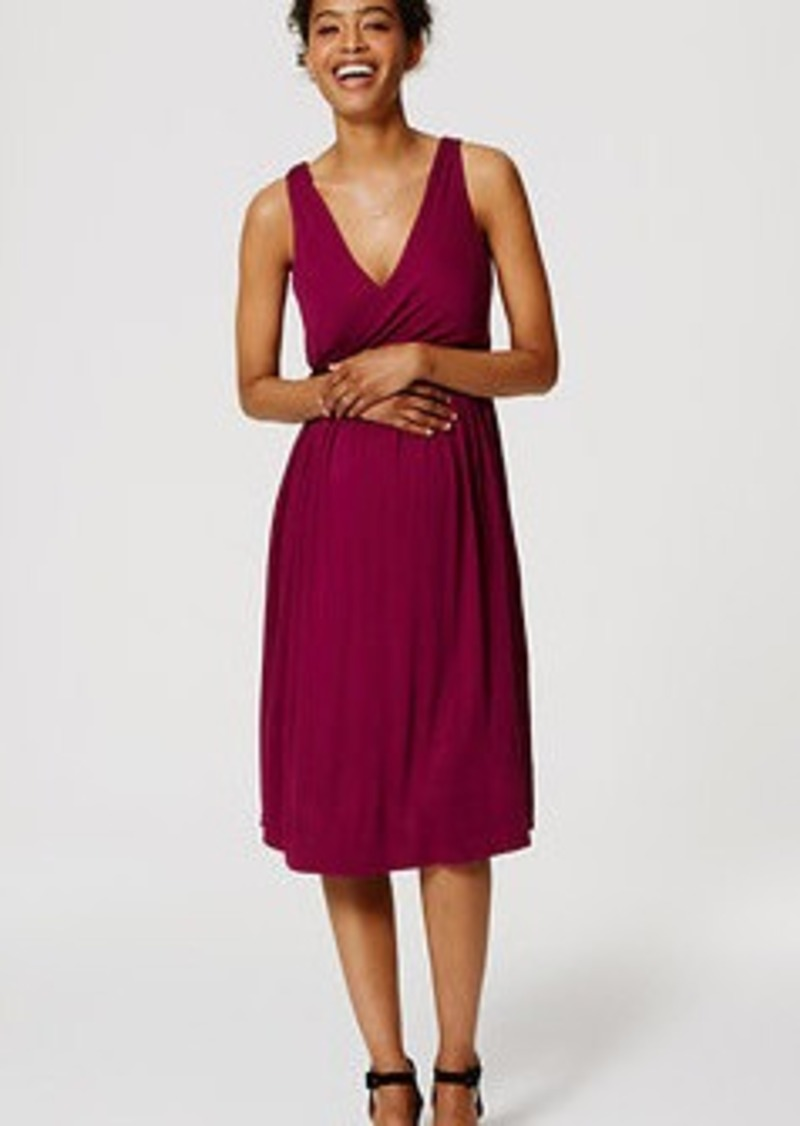 LOFT Petite Maternity Double V Flare Dress