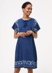 LOFT Petite Maternity Embroidered Lace Up Swing Dress