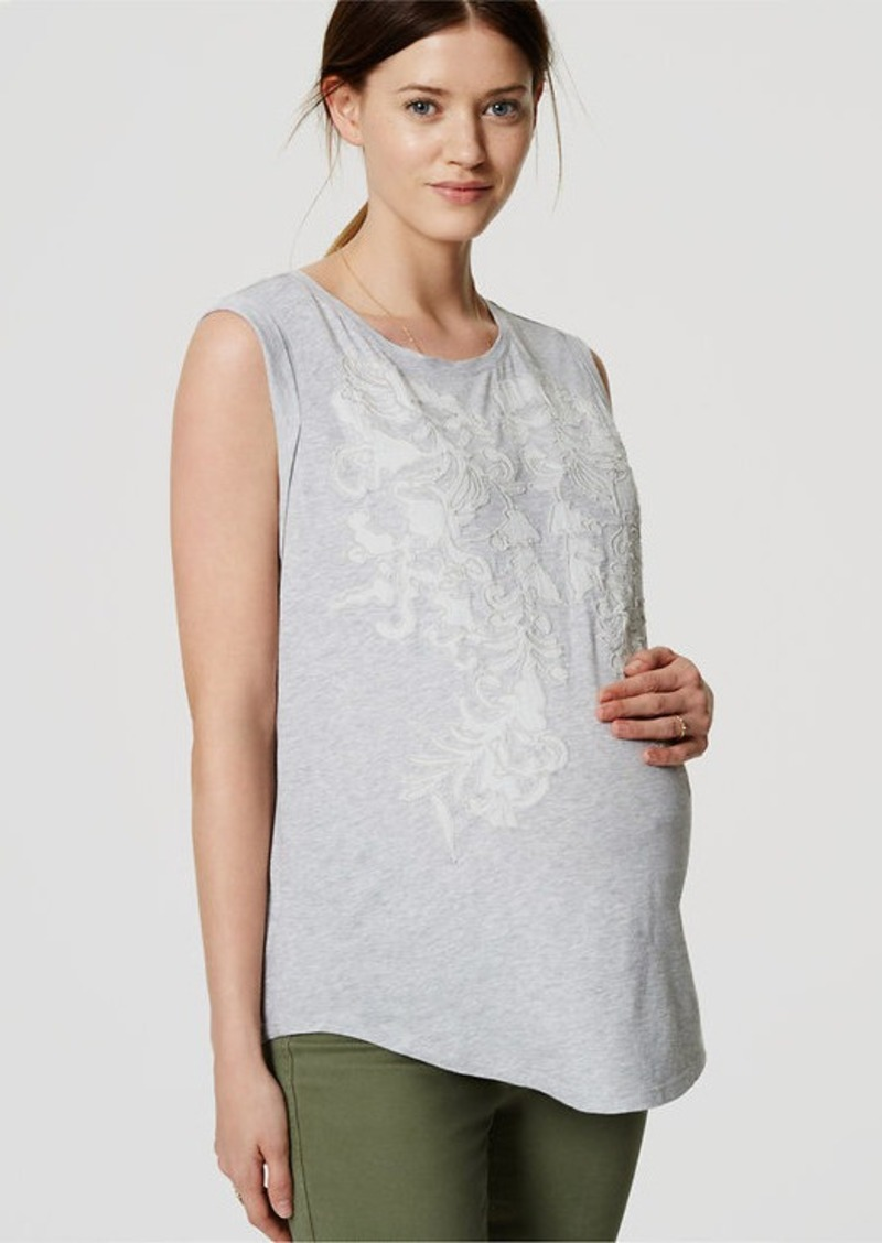 LOFT Petite Maternity Embroidered Shirttail Shell