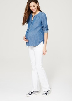 Petite Maternity Flare Jeans in White