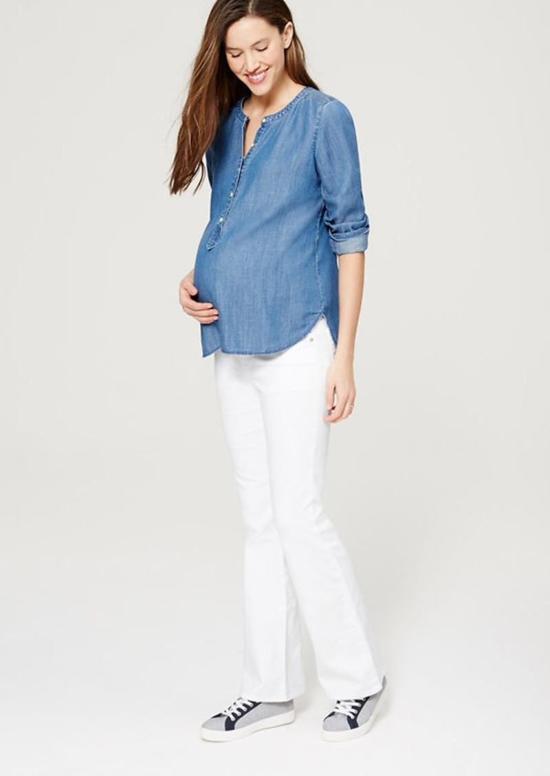 LOFT Petite Maternity Flare Jeans in White