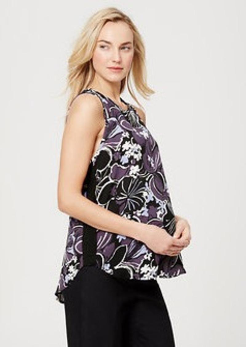 LOFT Petite Maternity Floral Piped Yoke Top