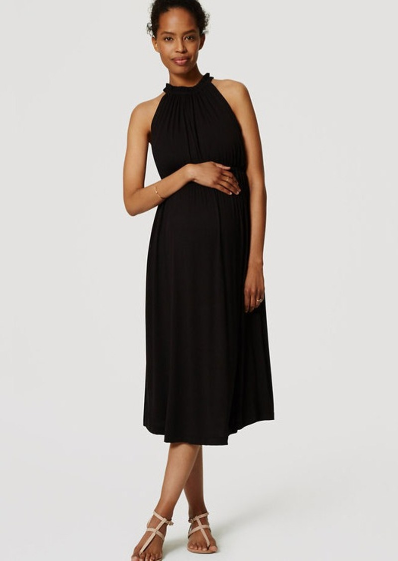 LOFT Petite Maternity Gathered Halter Midi Dress