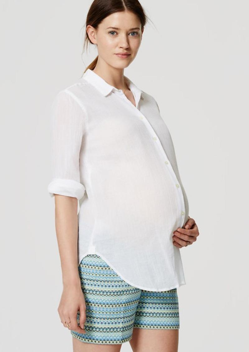 LOFT Petite Maternity Geo Jacquard Riviera Shorts with 5 1/2 Inch Inseam