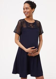 Petite Maternity Lace Yoke Swing Dress