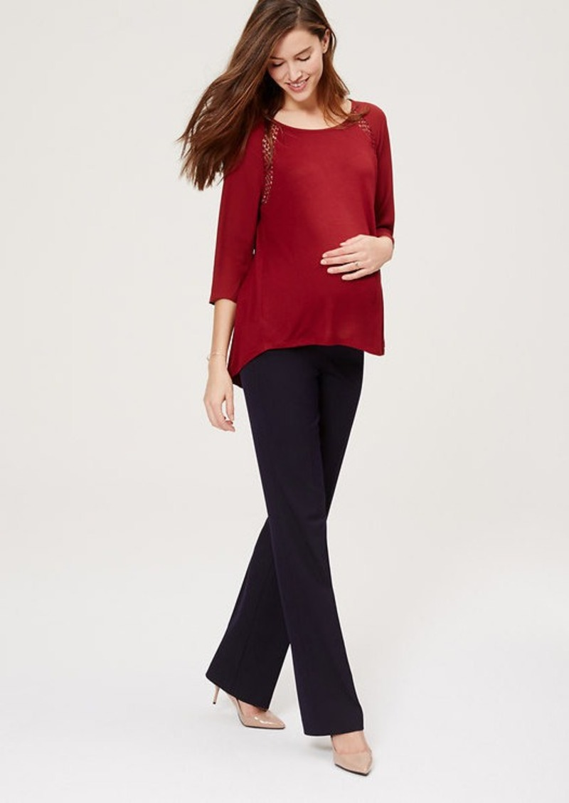 Petite Maternity LOFT Trousers with Roll Panel
